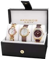 Akribos XXIV Women's AK887YG Quartz Diamonds Bracelet and Strap Watches Set