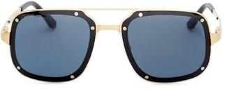 Cartier Santos-de Aviator Brushed-metal Sunglasses - Gold