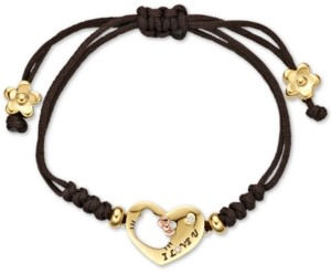 Chow Tai Fook Diamond Accent Hello Kitty Heart Nylon Bracelet in 18k Gold and 18k Rose Gold