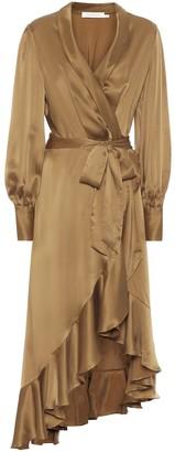 Zimmermann Super Eight silk-satin wrap dress