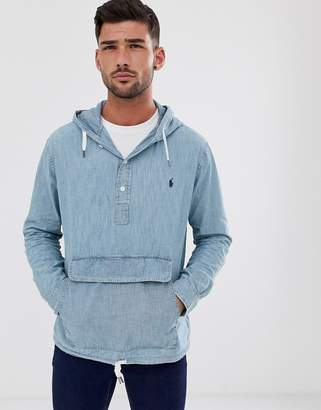 Polo Ralph Lauren chambray overhead hooded jacket in light wash-Blue