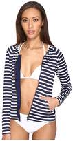 Tommy Bahama Breton Stripe Long-Sleeve Full-Zip Rash Guard Cover-Up Women's Swimwear
