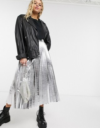 Topshop faux leather pleated midi skirt in silver