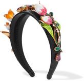 Dolce & Gabbana Gold-tone, Enamel And Swarovski Crystal-embellished Satin Headband - Black