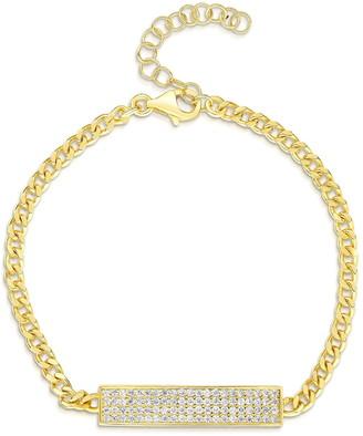 Sphera Milano 14K Gold Plated Sterling Silver CZ ID Bracelet
