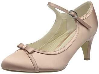 Paradox London Pink Paradox London Women's April Satin Wedding Shoes Bridal Mid Heel Court Shoes