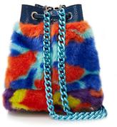 House of Holland Multicolour Faux Fur Mini Bucket Bag