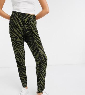 Asos Tall ASOS DESIGN Tall peg pant in khaki animal print