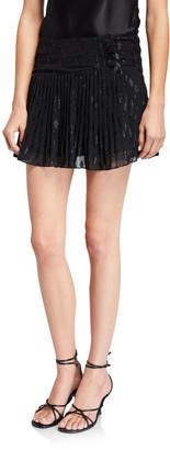 Ramy Brook Jenny Smocked Metallic Mini Skirt