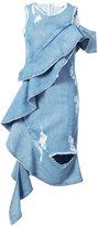 Jonathan Simkhai asymmetric frilled dress - women - Cotton - 6