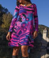 Aller Simplement Pink & Purple Floral Shift Dress
