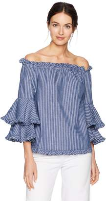 ECI New York New York Women's Tripple Tiered Long Sleeve Off The Shoulder Stripe Blouse