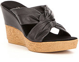 Onex Pretti Leather Criss Cross Slip On Wick Woven Wedge Sandals