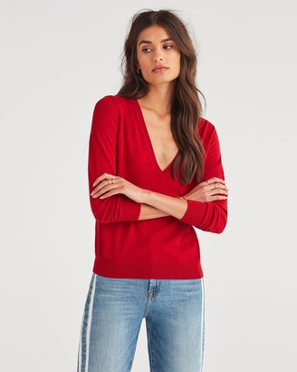 7 For All Mankind Classic V-Neck Sweater in Red