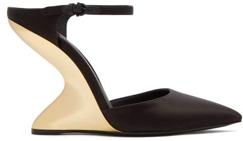 Salvatore Ferragamo Naturno Satin Wedge Mules - Womens - Black
