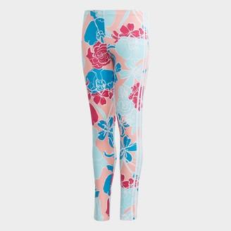 adidas Girls' Allover Floral Print 3-Stripes Leggings