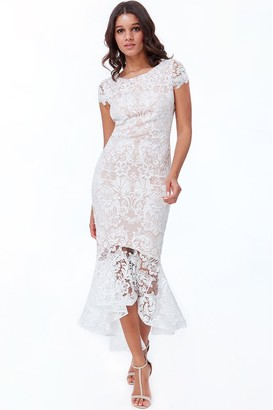 Goddiva White Lace High Low Maxi Dress