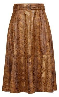 Dorothy Perkins Womens Vila Brown Snake Print Midi Skirt, Brown