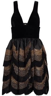 Raisa Vanessa Ruffle Glitter Mini Dress