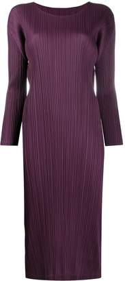 Pleats Please Issey Miyake plissé satin dress