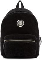 Versus Black Small Shearling Lion Medallion Backpack