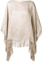 Brunello Cucinelli fringed cape - women - Linen/Flax/Polyamide/Polyester - One Size