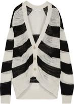 IRO Flesh open-knit striped linen-blend cardigan