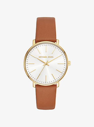 Michael Kors Pyper Gold-Tone Leather Watch