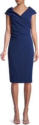 Donna Karan Portrait-Collar Faux-Wrap Sheath Dress
