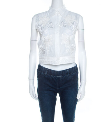 Alberta Ferretti Off White Floral Embroidered Sheer Cotton Sleeveless Crop Shirt S