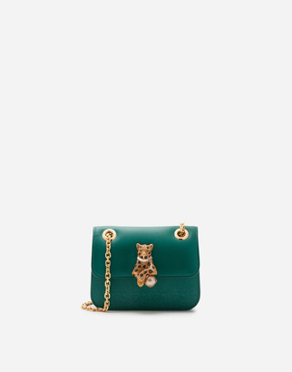 Dolce & Gabbana Medium Jungle Bag In Calfskin With Bejeweled Closure