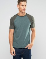 Asos T-Shirt With Contrast Raglan Sleeves In Green