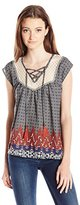 Jolt Women's Printed Georgette Top with Lace Yokes