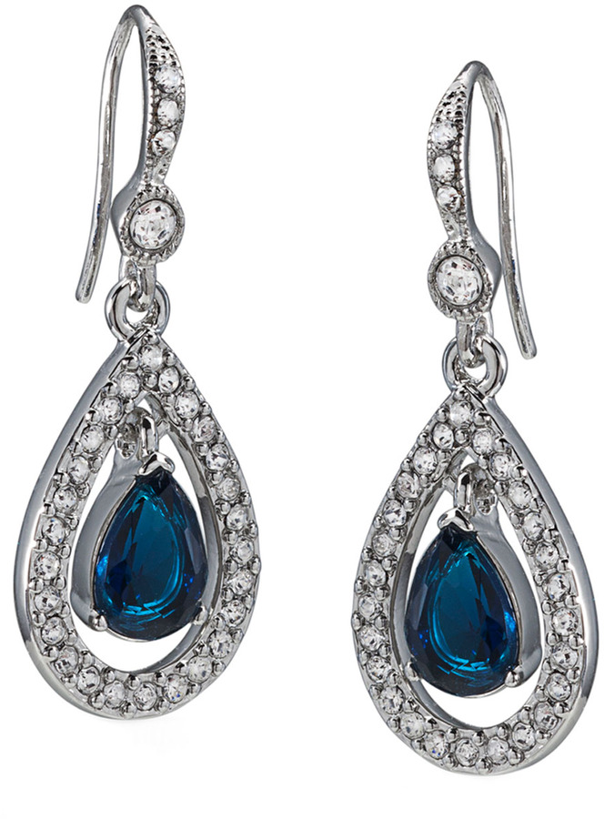 Carolee Blue Crystal Pavé Teardrop Earrings