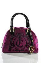 Juicy Couture Pink Black Velvet Embroidered Gold Heart Charm Satchel Handbag