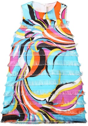 Emilio Pucci Printed Satin Dress W/ Fringes