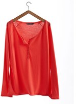 Petit Bateau Women's long-sleeved, Tunisian neck tee in loose cotton jersey
