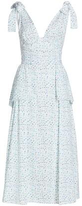 Rosie Assoulin Rough Around The Edges Tie-Strap Peplum Midi Dress
