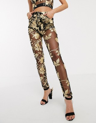 Jagger & Stone mom trousers in metallic rose mesh