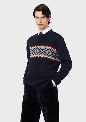 Emporio Armani Virgin-Wool Sweater With Front Jacquard Motif