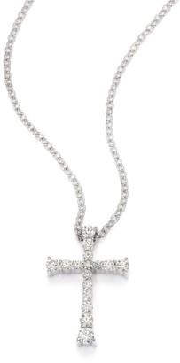 Hearts On Fire Journey Diamond & 18K White Gold Cross Pendant Necklace