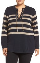 MICHAEL Michael Kors Plus Size Women's Chain Lace-Up Tunic Sweater