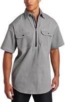 Wolverine Key Apparel Men's Short Sleeve Zip Front Hickory Stripe Logger Shirt