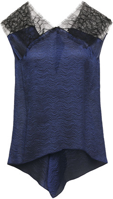 Roland Mouret Dave Chantilly Lace-paneled Draped Satin-jacquard Top