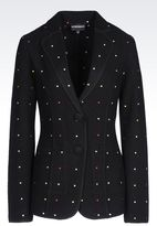 Emporio Armani Runway Jacket In Boiled Wool With Embroidery