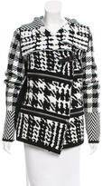 Barbara Bui Zip-Accented Houndstooth Cardigan w/ Tags