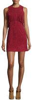 Rebecca Minkoff Sleeveless Suede Mini-Dress W/Fringe, Wine