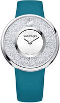 Swarovski Women's Swiss Crystalline Crystal Accent Green-Blue Leather Strap Watch 40mm