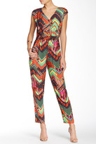 Muse M2989M Cap Sleeved Printed Surplice Jumpsuit