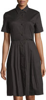 Melissa Masse Short-Sleeve Button-Front Pleated Shirtdress, Black